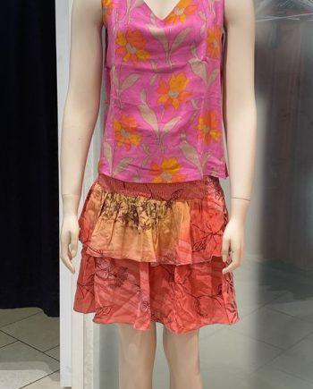 Olivia singlet silk top (pinkki-oranssi) Sissel Edelbo