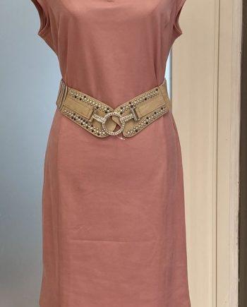 Pinkki tekstiilinahkainen kotelomekko