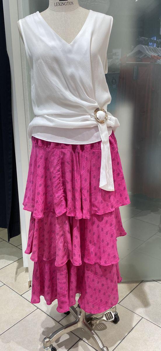 Ulrika long silk skirt (fucshia) Sissel Edelbo