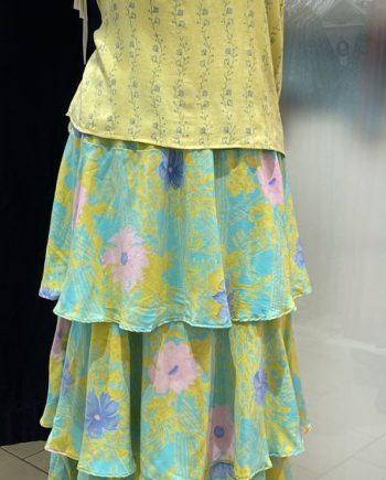 Ulrika long silk skirt (vihreä-keltainen) Sissel Edelbo